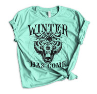 Jon Snow Winter Has Come Crewneck Tee - Heather Mint
