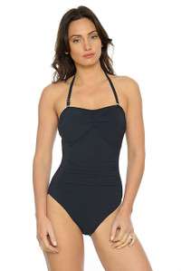 7090dd3b90 Silhouette Black Bandeau One Piece Swimsuit with ruching and tummy control