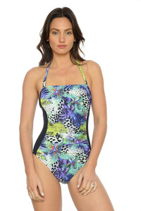 Ruched Bandeau One Piece with removable Straps