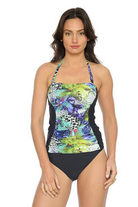 Ruched Bandeau Tankini Top with Removable Straps (pant sold seperately)