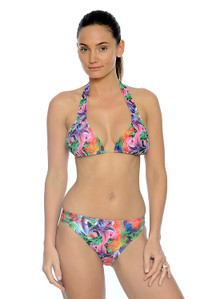 Tropical Garden Halter Two Piece Bikini with sliding cups for the perfect fit.