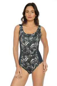 Monochrome Ruched Tank One Piece Swimsuit:  Chlorine resistant