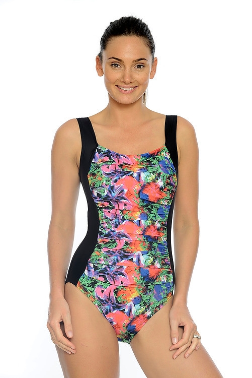 b8c245ad05 Tropical Garden Ruched One Piece Swimsuit with tummy control ...