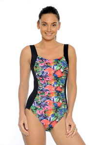 Tropical Garden Ruched One Piece Swimsuit with tummy control.