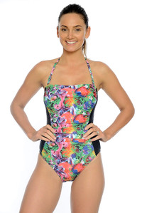 Tropical Garden Ruched Bandeau One Piece with tummy control and removable straps