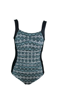 Aztec Ruched One Piece Swimsuit with tummy control.