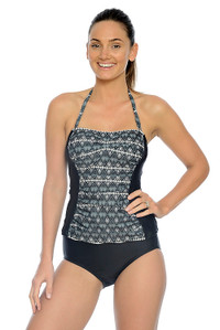 Aztec Ruched Bandeau Tankini with Removable Straps (pant sold seperately)