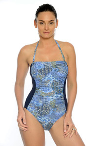 Maroc Ruched Bandeau One Piece with tummy control and removable straps