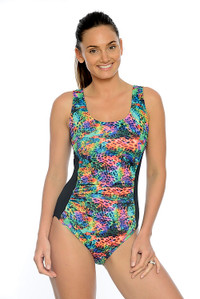 Neon Leopard Mastectomy, Chlorine Resistant One Piece Swimsuit.