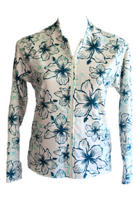Cream & Teal Hibiscus Rash Jacket