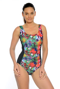 Tropical Garden Mastectomy, Chlorine Resistant One Piece Swimsuit.