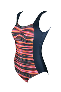 Sunrise Ruched One Piece Swimsuit: With shelf bust support and ruched tummy control