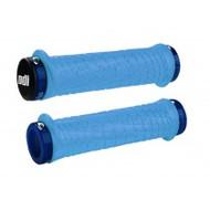 ODI TROY LEE Designs Aqua Blue Lock-On Grips 130mm w/ Blue Lock Jaws