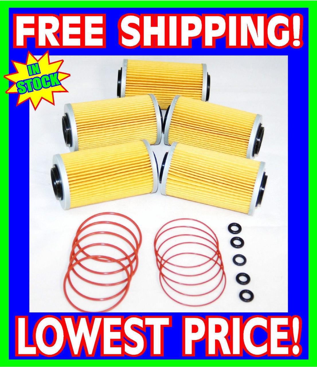 5 Sea Doo 4-TEC Oil Filters & O-Ring Kits RXP RXT GTX GTI RXP-X RXT-X  2002-2012