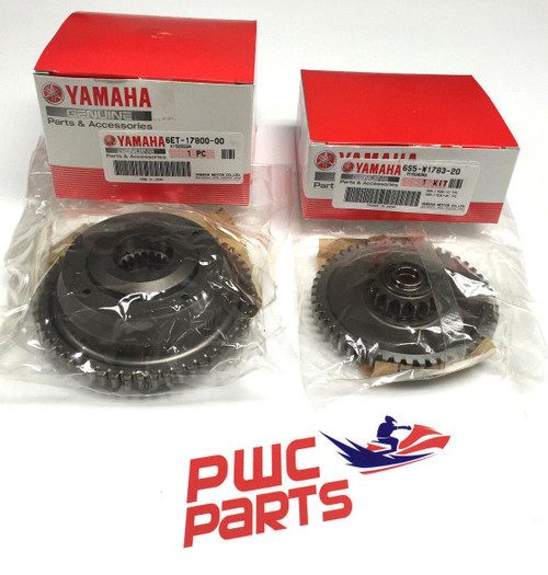 Yamaha FZR/FZS/FX-SHO/SVHO Upgraded 2014+ SVHO OEM Clutch & Dampener   QTY. 1- 6ET-17800-00-00  QTY. 1- 6S5-17830-20-00   THIS IS YAMAHA'S LATEST SVHO CLUTCH. CAN BE USED WITH SHO MOTORS FOR UPGRADE.  2008-2012 SHO MODELS WILL NEED TO USE DAMPENER GEAR 6S5-17830-20-00 WITH THIS CLUTCH (INCLUDED)  Yamaha FZR/FZS/FX-SHO Upgraded OEM clutch for Yamaha 1.8L Supercharged engines.  Must use new 2013 57 Tooth gear OEM# 6S5-17830-20-00 to use this Clutch Assy.