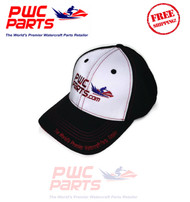 PWC Parts Hat Black White Red Stitching Mid-Profile Mesh SeaDoo Yamaha Adj Cap   OFFICIAL WATERCRAFT RACE TEAM PIT HAT WORN BY JUSTIN TAYLOR & JOEJOHNSON