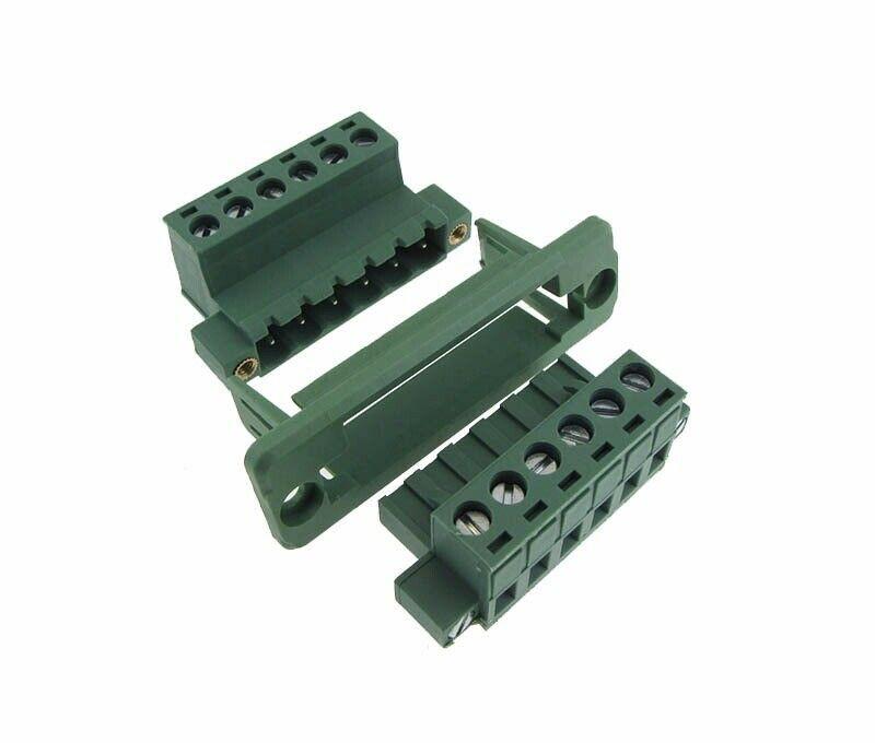 HQ 6-Pin 3.81mm Screw Terminal Block Plug Shrouded Flange Free Hanging