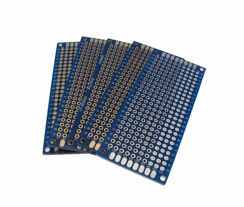 """Pack of 5 3x7CM Double Side Prototype Board Perforated Through Hole 0.1/"""" Black"""