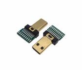 Micro Mini HDMI Male Connector Plug Breakout Board 19P Solder Pad - Pack of 2