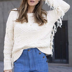 Zara Ecru Knitted Fringed Jumper