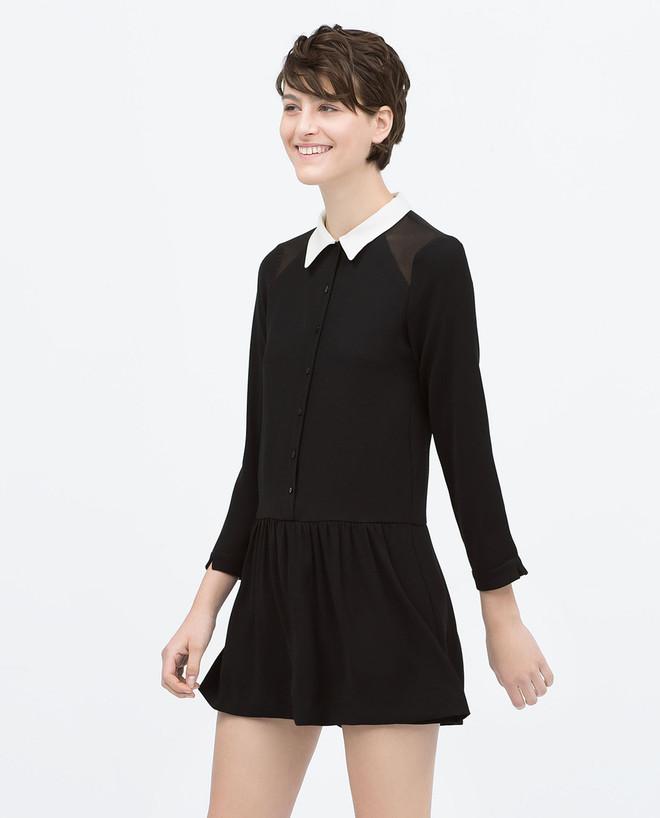 193dc65aa4fe Zara Black Jumpsuit With Peter Pan White Collar - Beautiful Wardrobe