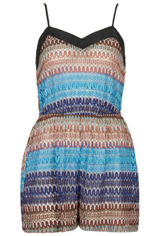 Topshop Beach Zig Zag Knit Playsuit