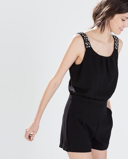 Zara Black Jewelled Strap Jumpsuit