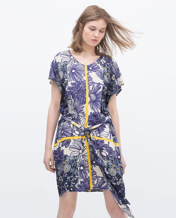 72668846 Zara Blue Printed Tunic Dress With Belt - Beautiful Wardrobe