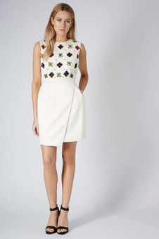 Topshop PREMIUM Cream Cut Out Floral Shift Dress