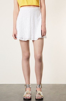 Topshop White Lace Skater Skirt