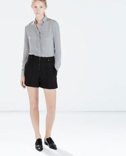 Zara Black High Waist Zip Press Stud Shorts