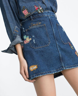 Zara Denim Skirt With Patches