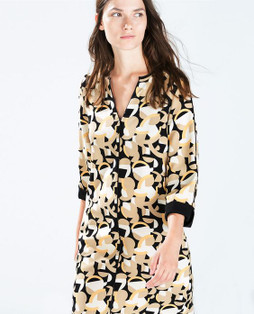 Zara Printed Dress With Piping