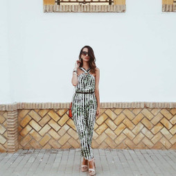 Zara LEAVES Print Jumpsuit