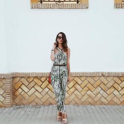 Zara LEAVES Print Jumpsuit