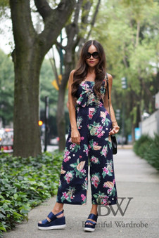 Zara Navy Tropical Print Jumpsuit