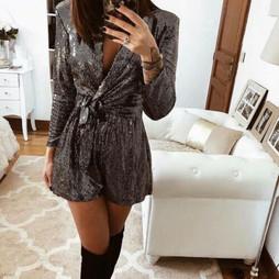 Zara Shiny Silver Jumpsuit