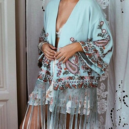 Zara Embroidered Kimono With Fringing