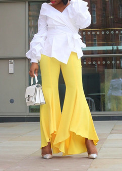 Zara Yellow Asymmetrical Flare Trousers