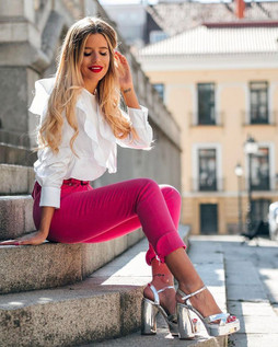 Zara Fuchsia Pink High Rise Trousers With Zips