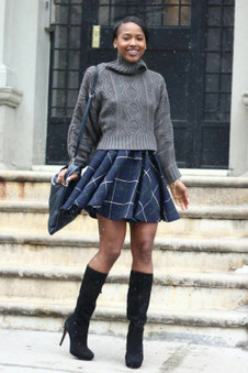 ZARA NAVY CHECK SKIRT