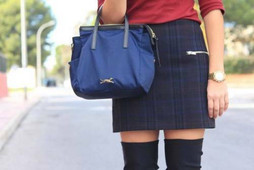 ZARA ZIPPED CHECK PLAID SKIRT