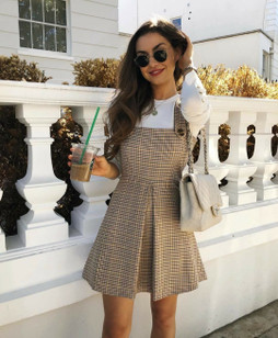 ZARA CHECKED PINAFORE DRESS