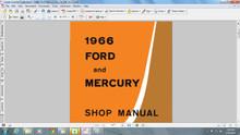 Ford Mercury 1966 factory service repair shop manual mustang comet fairlane falcon on CD