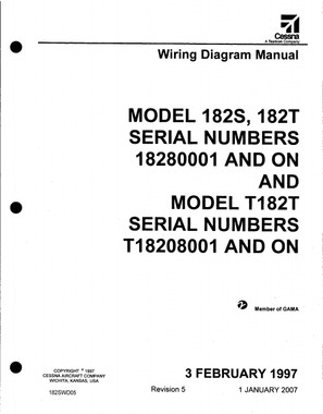 Cessna 182 wiring diagram electrical manual 182S 182T 182swd  on CD