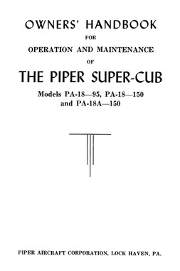Piper PA-18 Super Cub owners hand book download