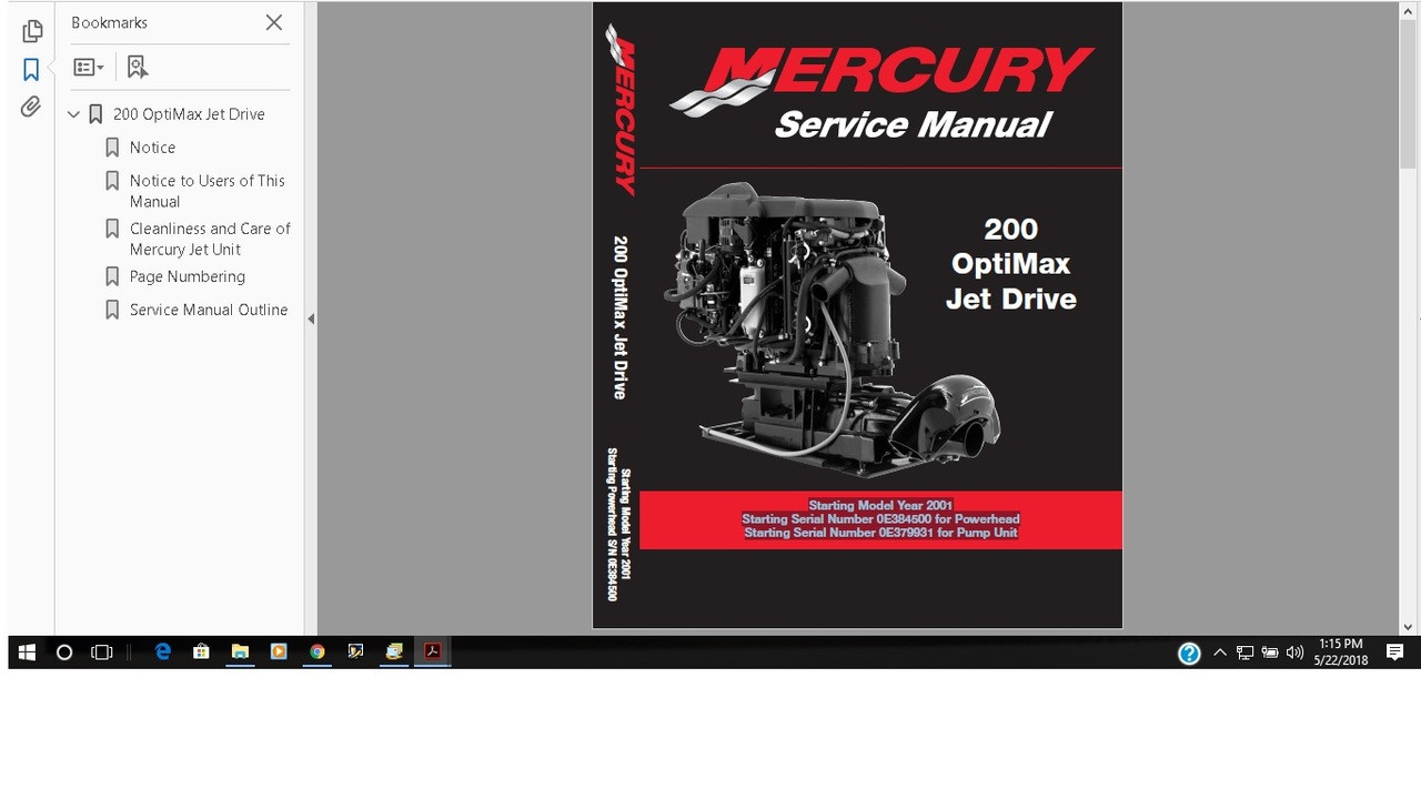 Mercury Marine 200 Optimax Jet Drive Service Manual 90 881986