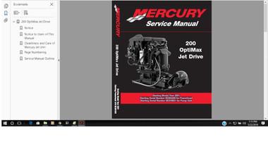 Mercury Marine 200 Optimax Jet Drive Service Manual 90-881986