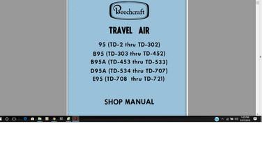 Beechcraft 95 series Travel Air Maintenance library w FAA A/Ds