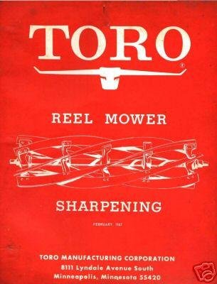 Toro reel mower sharpening factory manual on a CD